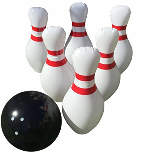 "Price comparison product image Giant Inflatable Bowling Game Set - Indoor Outdoor - Jumbo size - 24"" Pins and 18"" Ball - A Great Party Game. Oversized Fun for Kids of All Ages. BONUS: Free Bowling Score Sheets PDF"