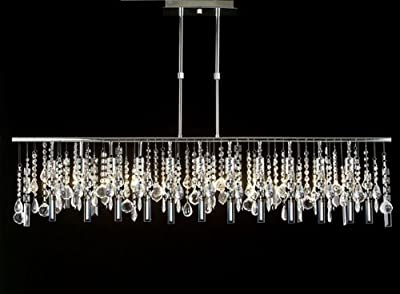 "Modern Contemporary Broadway Linear Crystal Chandelier Lighting Lamp H28"" X W48"""