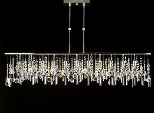 Modern Contemporary Broadway Linear Crystal Chandelier Lighting Lamp H28″ X W48″