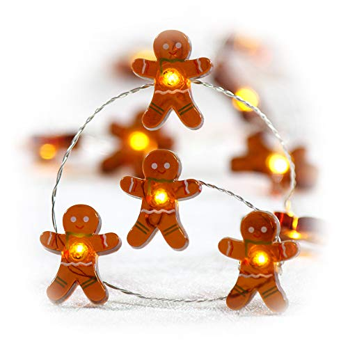 Impress Life Christmas Festivel String Lights, Gingerbread Cookies Man 10 ft Copper Wire 40 LEDs with Dimmable Remote for House Bedroom Decorative, Wedding, Home, Covered Outdoor, Indoor DIY Parties