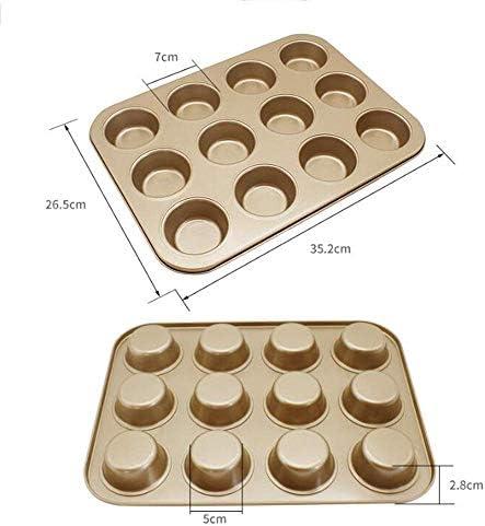 BBGSFDC Plateau de Cuisson Accueil 12 Même Moule de Cuisson Pain Rond Faire gâteau pâtisserie Biscuit Assiette Champagne Or Taille: 35.2cm * 26.5cm