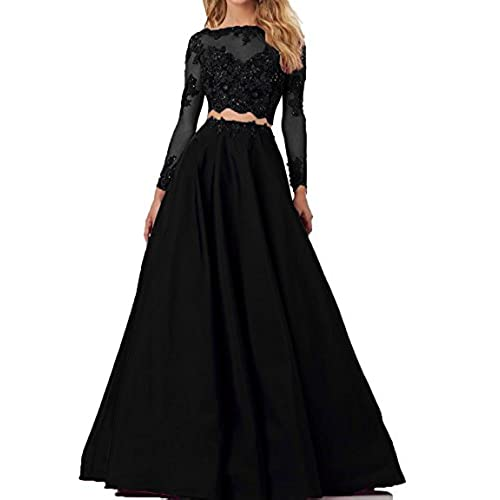 513d72e6d22 Momoai Womens Beaded Long Sleeve Lace Evening Party Dress Formal Gown Two  Pieces Prom Dresses Long