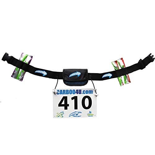 Carboo4U Unisex Multifunktionsgürtel in schwarz | Startnummernband Plus Tasche und Halter für 4 Energie-Gels oder -Riegel | Ideal für Lange Wettkämpfe
