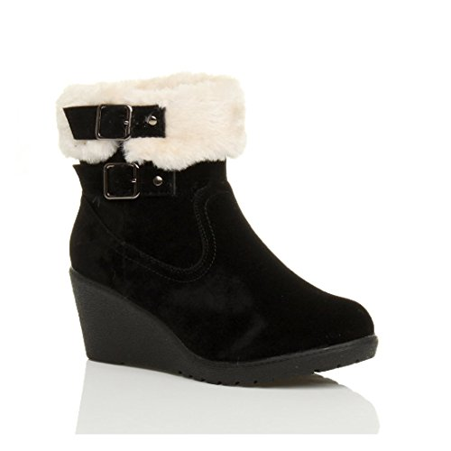 Wedge Boots Ankle Collar Shoes Size Fur Ladies Black Lined Ajvani mid Zip Booties Heel Buckle Womens Low SIzOHq