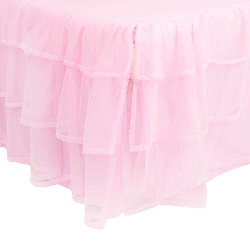 Tadpoles Triple Layer Tulle Crib Skirt in Pink (Toddler Crib Skirt)