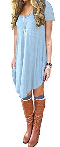 Buy light blue a line dress - 3