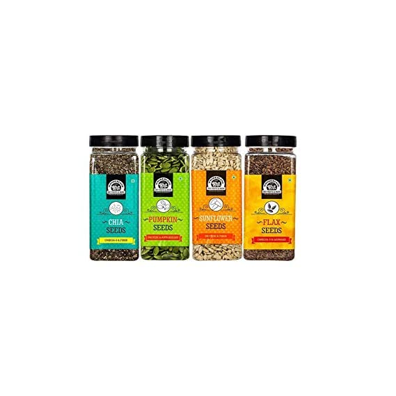 WONDERLAND FOODS (DEVICE) Roasted Seeds Combo-Chia, Pumpkin, Sunflower and Flax (200 g Each) - Pack of 4