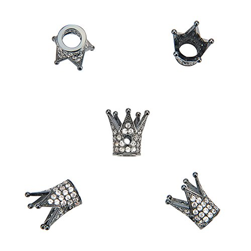 - NBEADS 5pcs Cubic Zirconia Pave King Crown Bracelet Connector Spacer Charm Beads, Loose Beads for Bracelet Necklace DIY Jewelry Making Crafts Design
