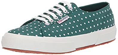 Superga Women's 2750 MICROTECHW Sneaker, Green Polka dot, 36 M EU (6 US)