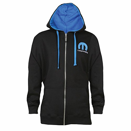 (Unisex-Adult Officially Licensed Mopar Omega Logo Zippered Hoodie Sweatshirt - Medium)
