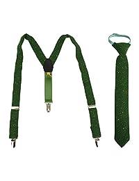Set of Adjustable Boys Suspenders and Zipper Tie - Green Speckled Tweed