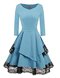 ACEVOG Women's 50s Vintage Floral Lace 3/4 Sleeve Pleated Cocktail Swing Dress