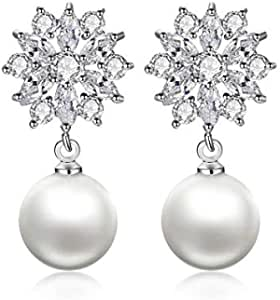 European and American exquisite lady flower pearl earrings earrings full of Zircon Earrings accessories for party and weedding the best give for you and friend