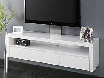 Fernsehschrank weiß  Fernsehschrank Hochglanz Weiß Lack 3 Schubladen schwebend: Amazon ...