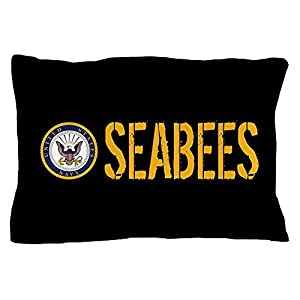 "CafePress U.S. Navy: Seabees (Black) Standard Size Pillow Case, 20""x30"" Pillow Cover, Unique Pillow Slip from CafePress"