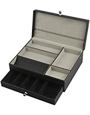 MK235A- 2tier Valet Tray with Drawer(Black) (Black)