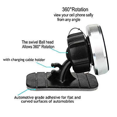 Car Phone Mount Magnetic,OHLPRO Universal Stick On Car Dashboard Phone Holder Mount 360°Adjustable Rotating for iPhone Samsung Sony Google All 4