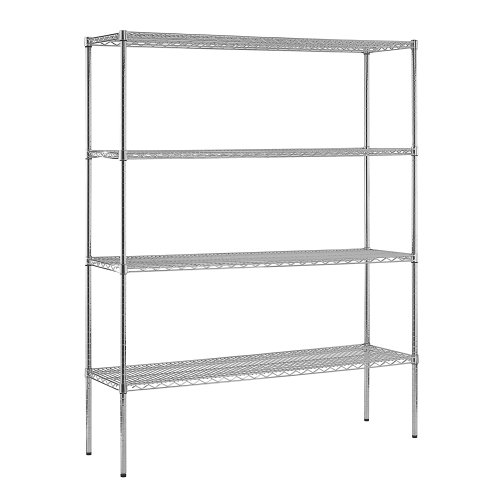 Open Adjustable Steel Shelving (Sandusky WS601874-C Chrome Steel Heavy Duty Adjustable Wire Shelving, 2400 lbs Capacity, 60