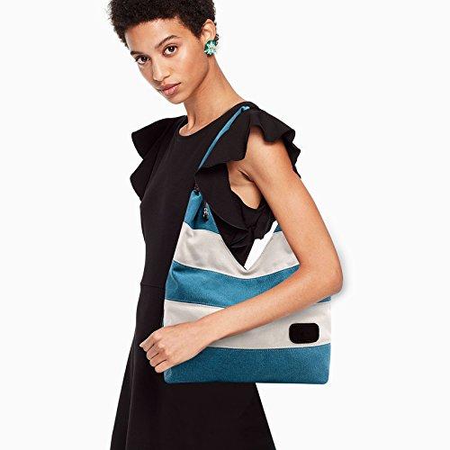 Blue Pattern Top Shopping Bag Bag Stripe Tote Hobo Canvas Casual Handbags Shoulder Work Peacock Bag Fanspack Handle Women's ZxwYXOOqT