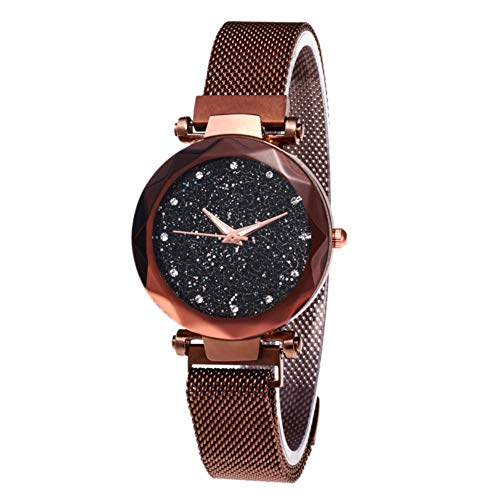 Starry Sky Rhinestone Analogue Quartz Watches with Magnetic Band Diamond Cutting Sandstone Dial Lady Watch Band Star Wrist Watch