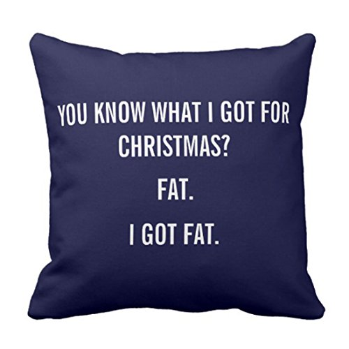 Emvency Throw Pillow Cover I Got Fat for Christmas Funny Decorative Pillow Case Elephant Home Decor Square 18x18 Inch Cushion Pillowcase