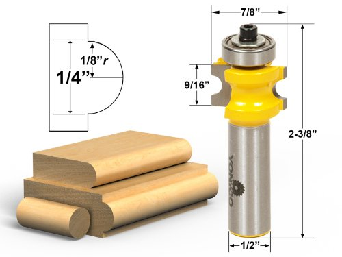 Yonico 13113 Bullnose Router Bit with 1/8-Inch - 1/4-Inch Bead 1/2-Inch Shank
