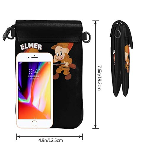 HYJUK Mobiltelefon crossbody väska Elmer Fudd Looney låtar liten crossbody mobiltelefon handväska Pu mini messenger axelväska plånbok för kvinnor