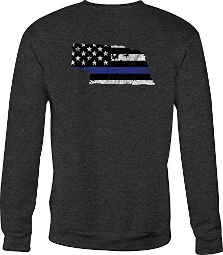 Hoody Crewneck Sweatshirt Nebraska - Thin Blue Line Distressed American Flag - Large ()