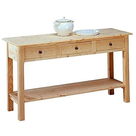 Tavolo consolle da pranzo rustico da cucina legno massello 141x48x80 ...