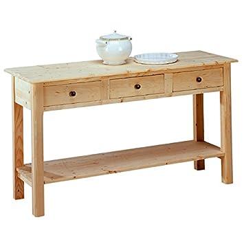 Tavolo consolle da pranzo rustico da cucina legno massello ...
