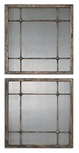 (Smoked Antiqued Glass Mirror Squares Cottage   Tiled Grouping Column)