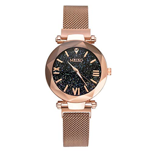 Buckle Steel Stainless Dial (Ladies Watch Stainless Steel Band Round Case Women Dress Watches Magnet Buckle Starry Sky Analog Wrist Watch Female Clocks by [Dolloress])
