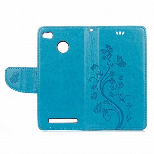 LEMORRY Xiaomi Redmi 3 Pro Hülle Tasche Ledertasche Flip Beutel Haut Slim Fit Bumper Schutz Magnetisch Schließung Stehening Soft SchutzHülle Weich Silikon Cover Case Schale für Xiaomi Redmi 3 Pro, Glü Blau
