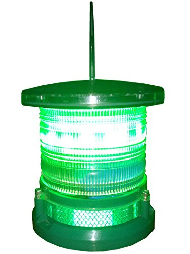 Solar Dock High Power Warning Light - Waterproof Marine Solar Dock Lighting - GREEN LED Constant or Flashing 360 Degree Lighting by Pilotlights.net