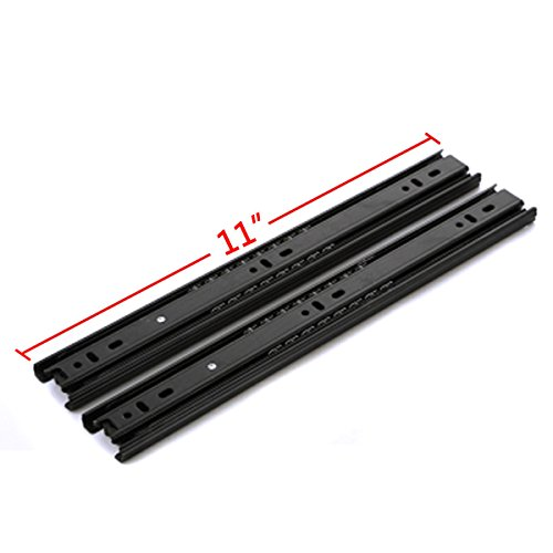 (GLE2016 A Pair of Black Metal Quiet Ball Bearing Full Extension 3 Section Drawer Slide, Side Mount (27.5cm/11 Inch))