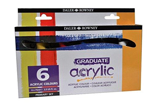 Daler Rowney Graduate Acrylic Primary Set - 6 x 75ml Tubes of Acrylic Paint by Daler Rowney Acrylic 75ml Primary