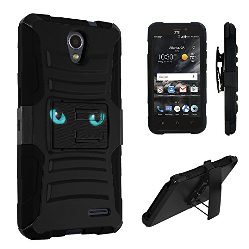 ZTE Sonata 3 Case, ZTE Chapel Case, DuroCase Dual Layer Combat Armor Style Kickstand Case w/ Holster for ZTE Sonata 3 Z832 /ZTE Chapel Z831 (Cricket, 2016) - (Blue Cat Eyes) -