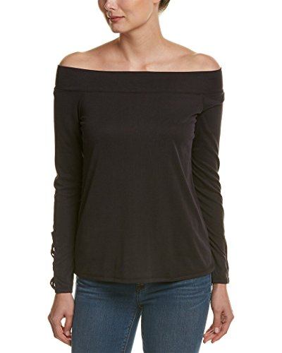 Splendid Women's Sandwash Rib Off Shoulder Top Black Shirt