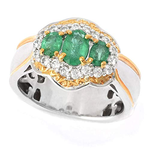 - Michael Valitutti Palladium Silver Belmont Emerald & White Zircon Halo Ring