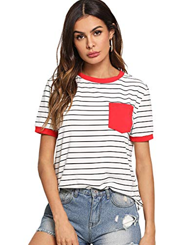 Classic Fit Ringer Tee - SweatyRocks Women's Classic Striped Blouse Short Sleeve Ringer Tee with Pocket Red#1 M