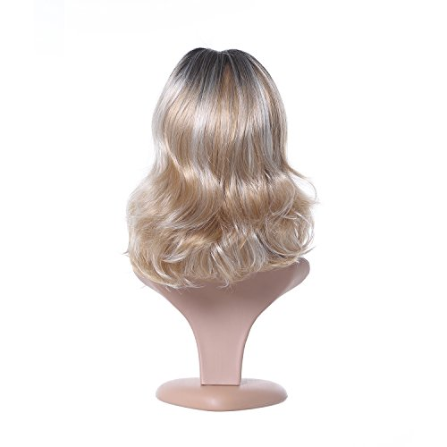 Ombre Blonde Centre Parting Synthetic Wig by LIANPENG, Daily Cosplay Party Wig with Dark Roots Natural Looking Curly Blonde with White Highlight Color, High Density with Heat Resistant Fiber -