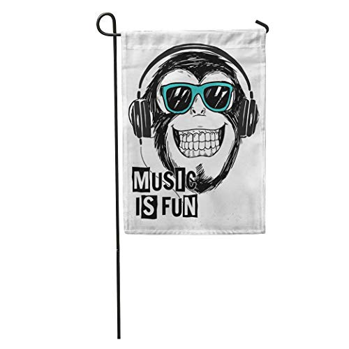 Nfuquyamluggage Garden Flag Music Cool Monkey Slogan and Boy Rock Graphic Hipster Happy Home Yard House Decor Barnner Outdoor Stand 12x18 Inches Flag]()