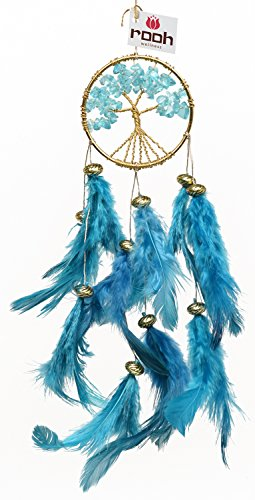 Rooh Dream Catcher~Healing Tree~Handmade Hangings for Positivity (Used as Home Décor Accents, Wall Hangings, Garden, Car, Outdoor, Bedroom, Key chain, Meditation Room, Yoga Temple, Windchime) (GREEN) by Rooh