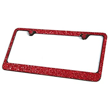 Swarovski Pink Crystal Bling license plate frame Inlay With Matching Screw Caps