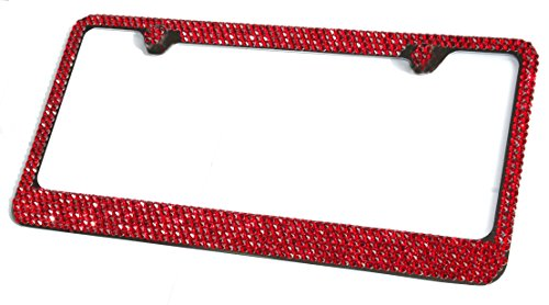 Hotblings 6 Row RED CRYSTAL on BLACK made w/SWAROVSKI Elements Metal Sparkle Bling License Plate Frame & Caps Set -  SWRED6RONB