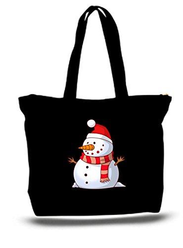 XXL 23 x 17 x 5 Canvas Cotton Tote Bag Christmas Snowman Frosty ()