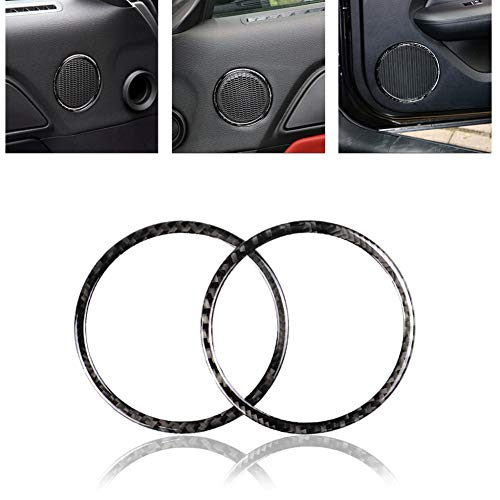 EOS&HELIOS Misszhang-US 1 Pair Carbon Fiber Car Door Audio Speaker Ring Cover Sticker for Ford Mustang