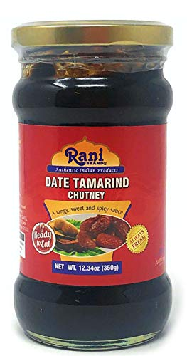 (Rani Dates & Tamarind (Imli) Chutney Glass Jar, Ready to eat 10.5oz (300g) Vegan ~ Gluten Free | NON-GMO | No Colors | Indian)