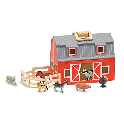 "Melissa & Doug Wooden Fold & Go Barn, Animal & People Play Set, Promotes Imaginative Play, 7 Animal Play Figures, 11.25"" H x 13.5"" W x 4.7"" L -"