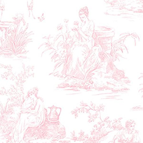 Pink Toile Wallpaper - GC29811 - Grand Chateau 3 Toile Pink & White Galerie Wallpaper